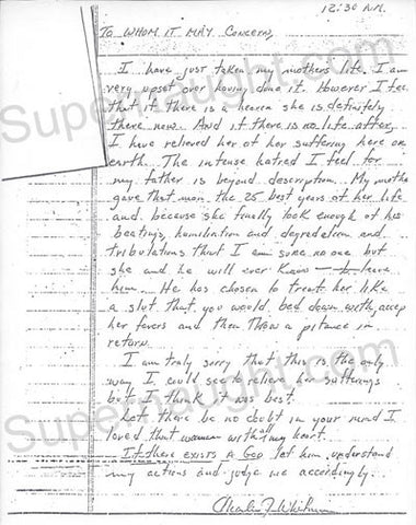 Charles Whitman Letters University of Texas Sniper