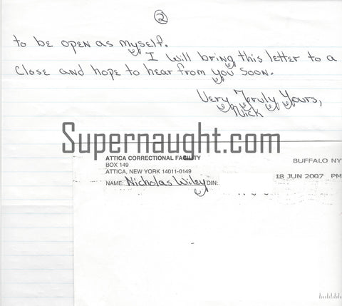 Nicholas Wiley serial killer letter