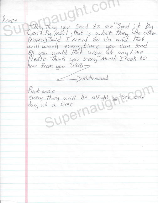 John Allen Muhammad Williams letter signed with envelope - Supernaught True Crime Collectibles - 1