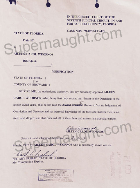 Aileen Wuornos 1997 court stamped document signed - Supernaught True Crime Collectibles - 1