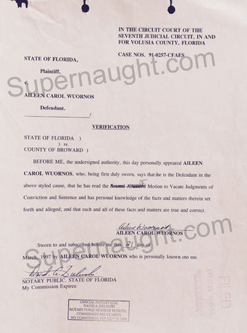 Aileen Wuornos 1997 Signed Court Document female serial killer charlize theron monster