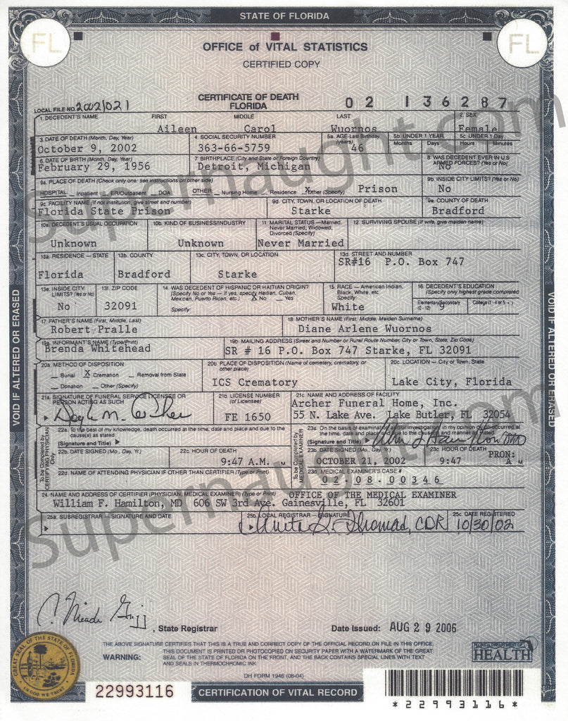 Aileen Wuornos Death Certificate Copy - Supernaught True Crime Collectibles
