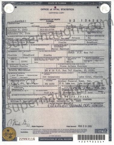 Aileen Carol Wuornos Death Certificate female serial killer