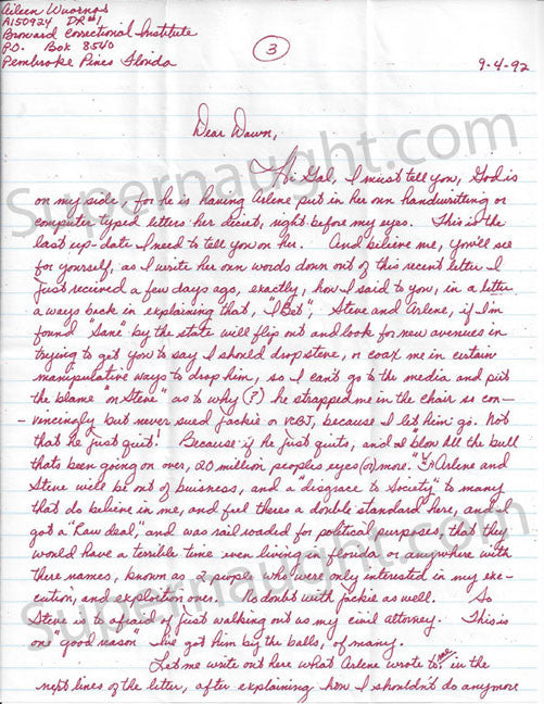 Aileen Wuornos 1993 letter and envelope set both signed - Supernaught True Crime Collectibles - 1