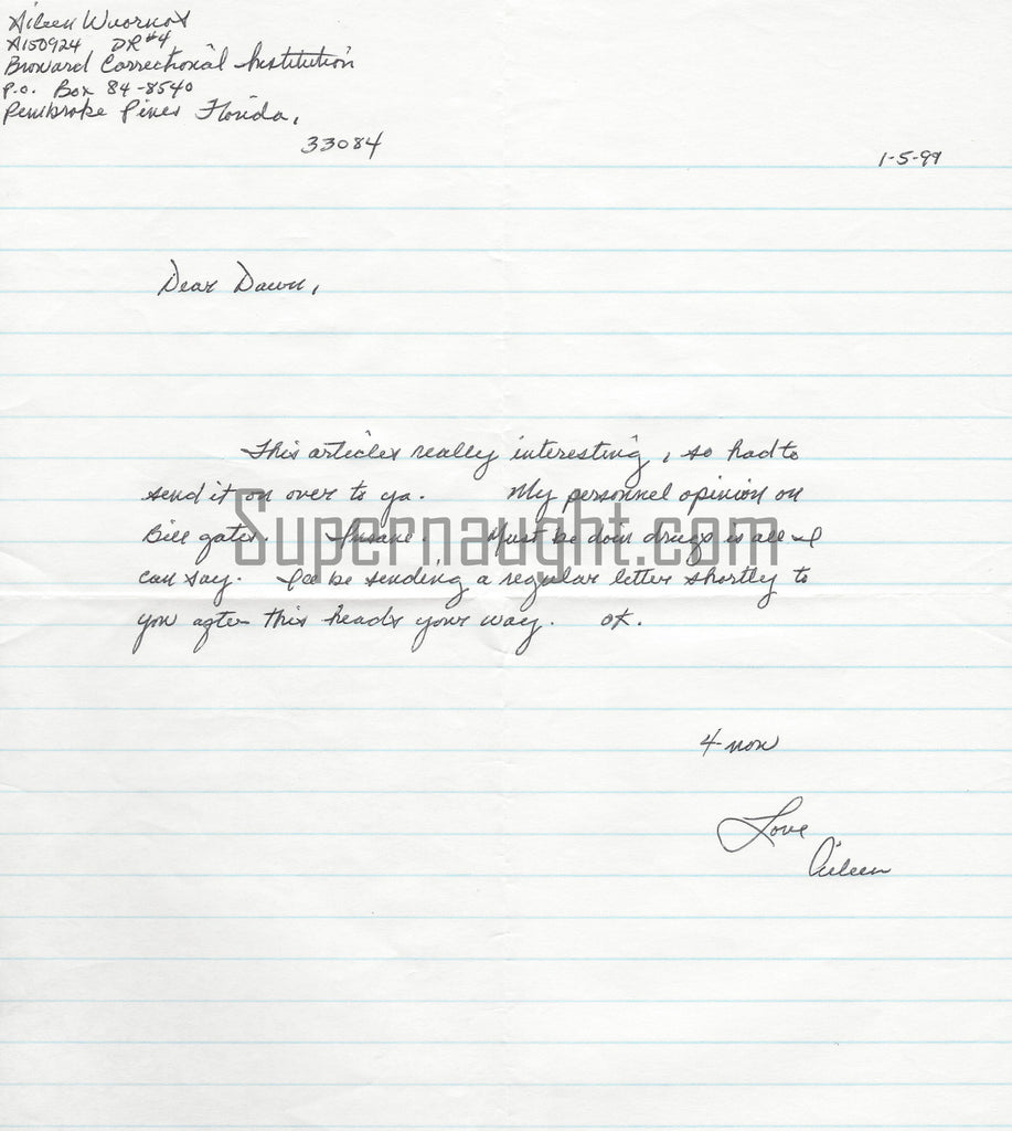 aileen wuornos female serial killer prison letter signed