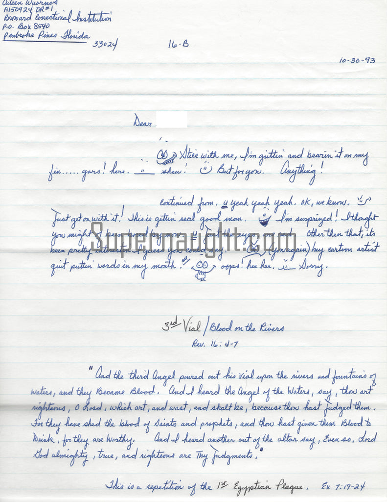 Aileen Wuornos prison correspondence signed