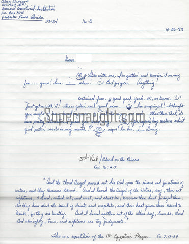 Aileen Wuornos 1993 Four Page Letter and Envelope Set Both Signed