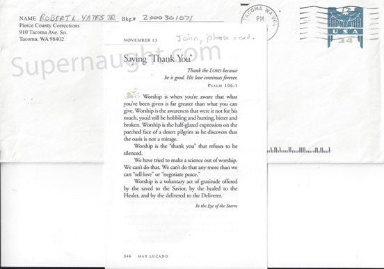 Robert Yates 2001 county jail envelope signed with insert - Supernaught True Crime Collectibles