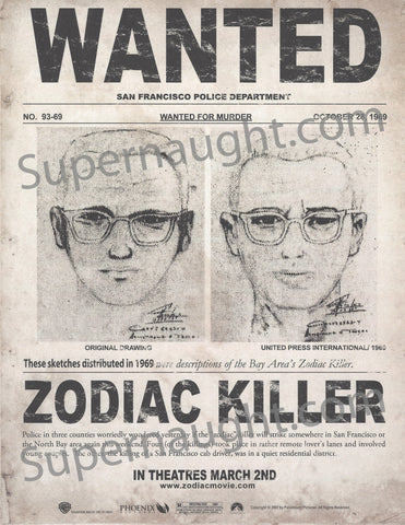 Zodiac Killer 2007 Promotional Movie Flyer - Supernaught True Crime Collectibles