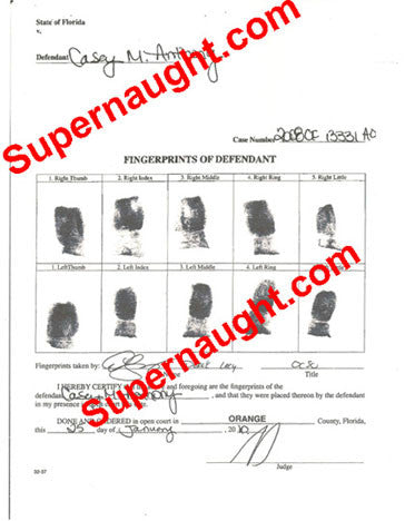 Casey Anthony fingerprint chart replica and search procedures - Supernaught True Crime Collectibles