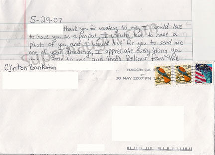 Clinton Bankston two page letter with the signed envelope - Supernaught True Crime Collectibles
