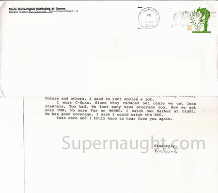 Richard Baumhammers letter and envelope set both signed - Supernaught True Crime Collectibles