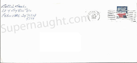 Betty Lou Beets Envelope Signed Bettie Beets - Supernaught True Crime Collectibles