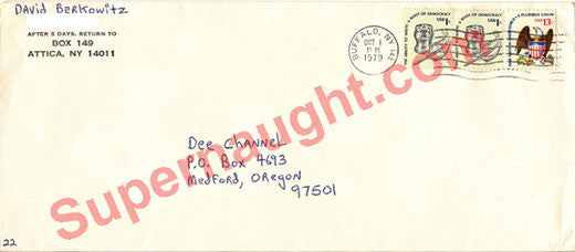 David Berkowitz prison envelope Oct 1979 signed David Berkowitz - Supernaught True Crime Collectibles