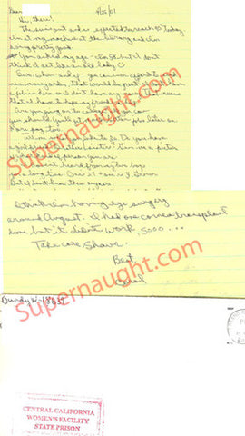 Carol Bundy 2 page letter and envelope both signed - Supernaught True Crime Collectibles