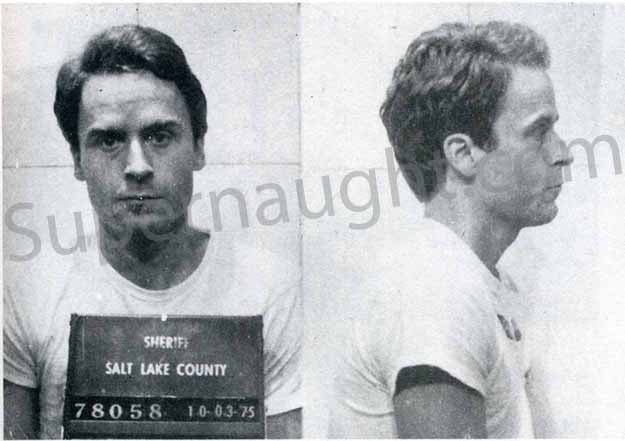 Ted Bundy Salt Lake City Utah 1975 mugshot photo - Supernaught True Crime Collectibles
