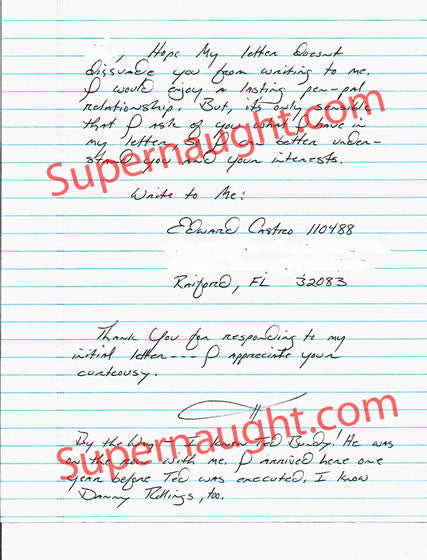 Edward Castro one page letter signed Executed - Supernaught True Crime Collectibles