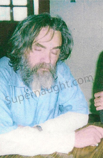 Charles Manson color prison visiting photo taken February 2000 - Supernaught True Crime Collectibles