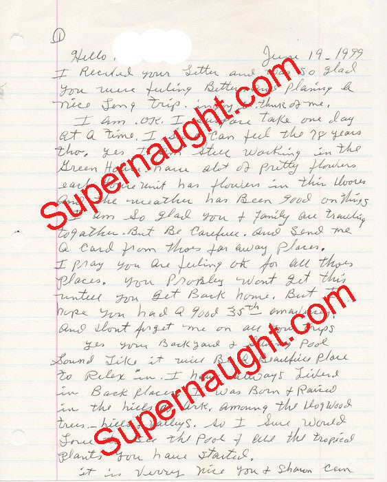 Faye Copeland letter and envelope set both signed - Supernaught True Crime Collectibles