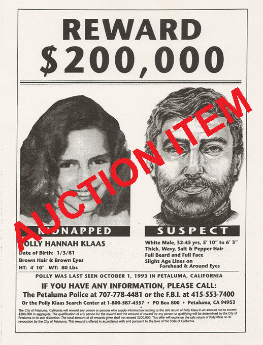 Richard Allen Davis Polly Klaas Two Original Missing Flyers - Supernaught True Crime Collectibles - 1