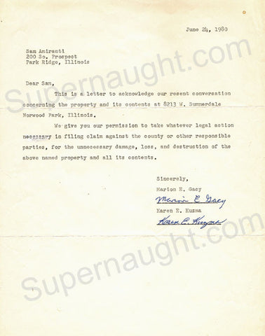 John Wayne Gacy letter signed by his sister and mother - Supernaught True Crime Collectibles