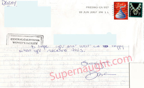 Dana Sue Gray two page letter and prison envelope both signed - Supernaught True Crime Collectibles