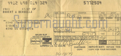 Robert Berdella Carbon Copy Signed Receipt