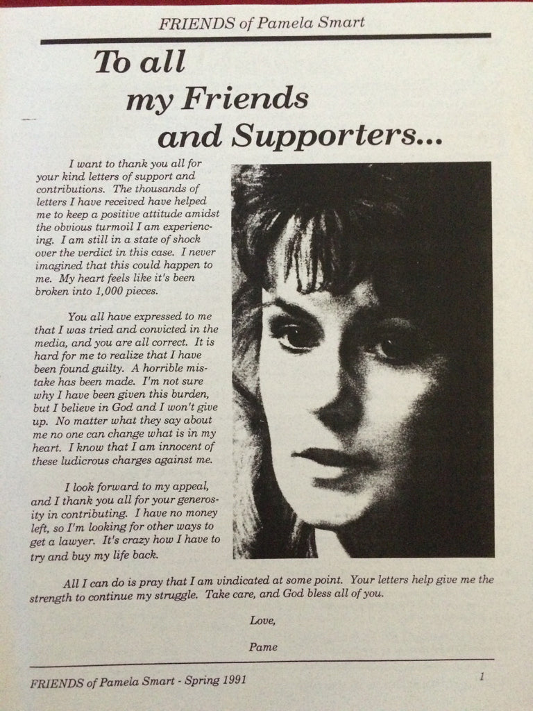 Friends of Pamela Smart Newsletter #1 Spring 1991 - Supernaught True Crime Collectibles