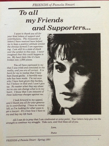 Friends of Pamela Smart Newsletter #1 Spring 1991