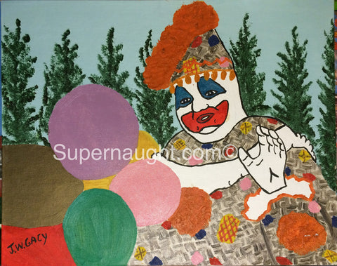 John Wayne Gacy Patches the Clown Oil Painting - Supernaught True Crime Collectibles - 1