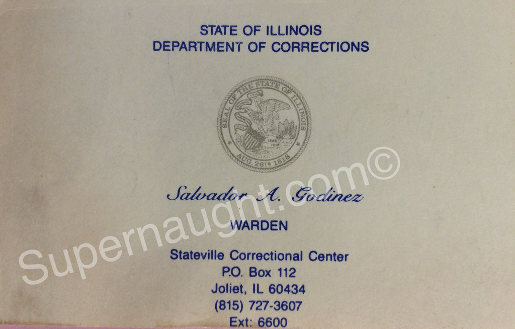 John Wayne Gacy Stateville Warden Signed Business Card - Supernaught True Crime Collectibles - 1