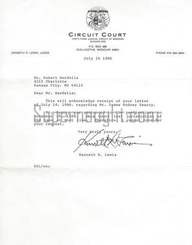 Robert Berdella Letter From Judge Lewis Signed With Envelope