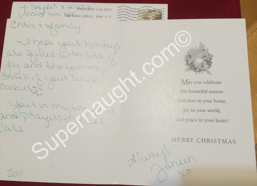 Janeen Snyder Christmas Card and Envelope Set Both Signed - Supernaught True Crime Collectibles