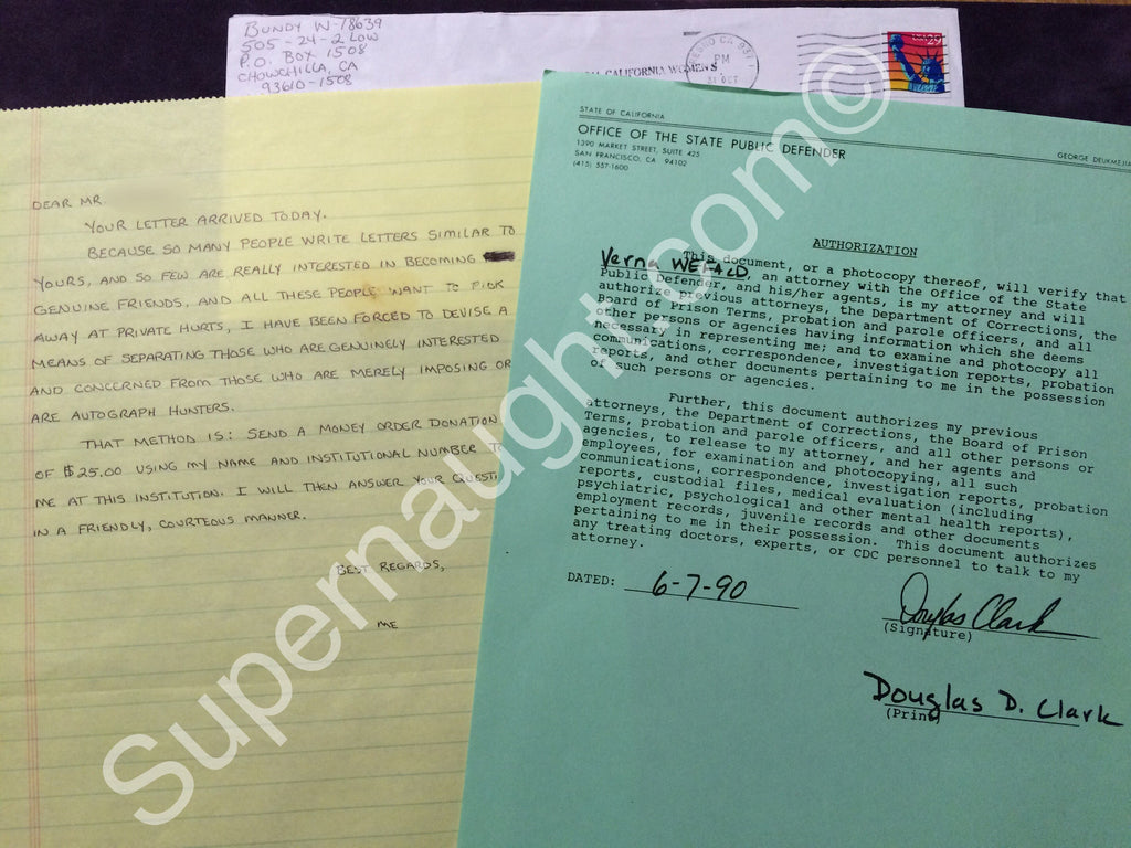 Douglas Clark and Carol Bundy Set Both Signed - Supernaught True Crime Collectibles