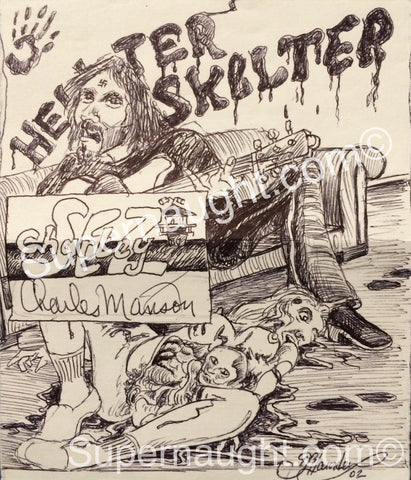 Charles Manson Helter Skelter Sharon Tate Signed Drawing - Supernaught True Crime Collectibles