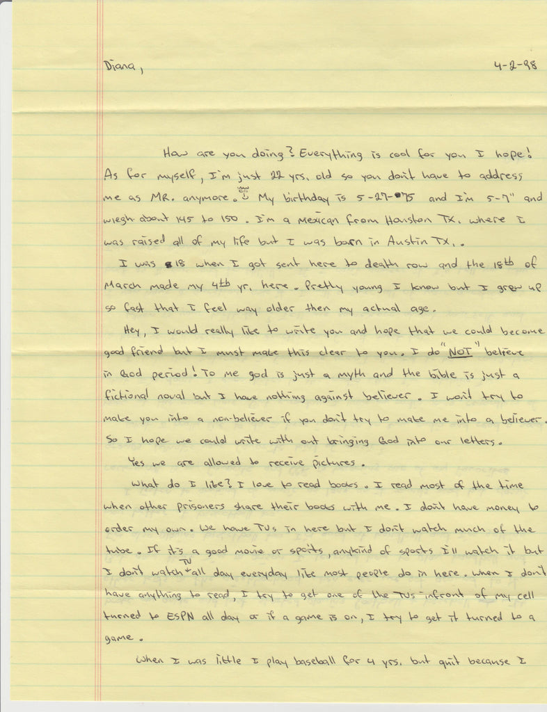 Peter Cantu death row letter