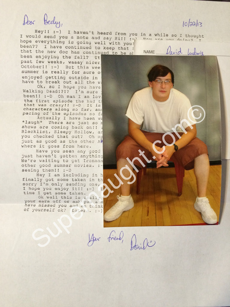 David Ludwig Letter Photo and Envelope Signed - Supernaught True Crime Collectibles