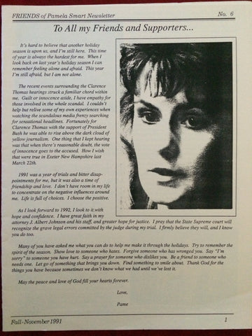 Friends of Pamela Smart Newsletter Fall 1991 #6 - Supernaught True Crime Collectibles