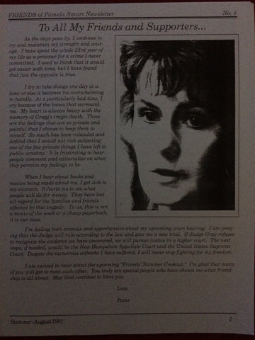 Friends of Pamela Smart Newsletter #4 Summer 1991 - Supernaught True Crime Collectibles