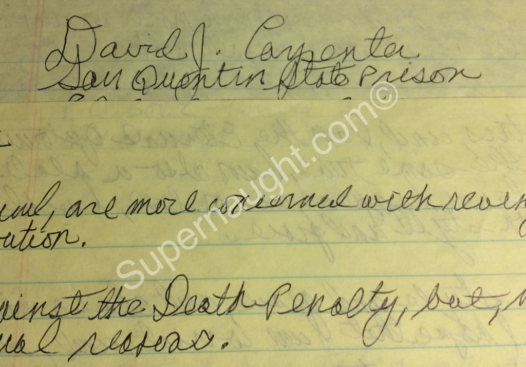 David Carpenter four page letter with poem signed twice - Supernaught True Crime Collectibles