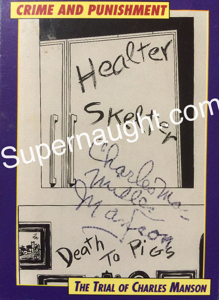 Charles Manson Helter Skelter Trading Card Signed - Supernaught True Crime Collectibles - 1