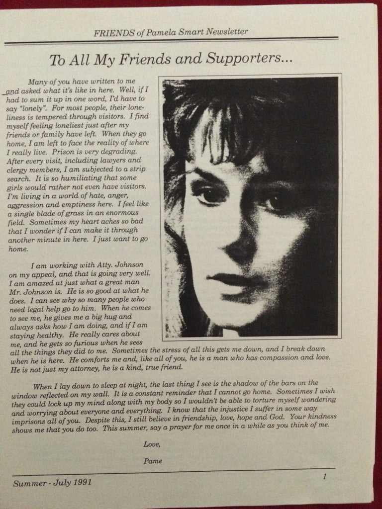 Friends of Pamela Smart Newsletter #3 July 1991 - Supernaught True Crime Collectibles