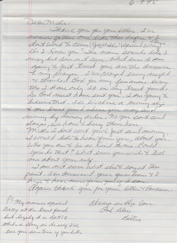Bettie Lou Beets Letter and Envelope Set Both Signed - Supernaught True Crime Collectibles - 1