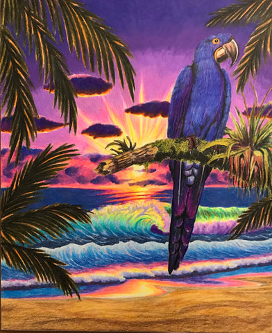 Keith Jesperson Hyacinth Macaw Painting Signed