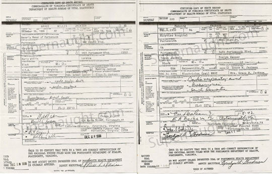 Elton Manning Jackson parents death certificates - Supernaught True Crime Collectibles