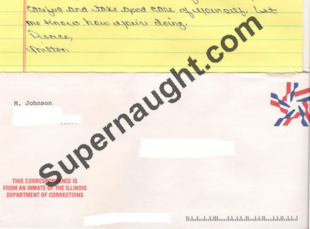 Milton Johnson two page letter signed with envelope - Supernaught True Crime Collectibles