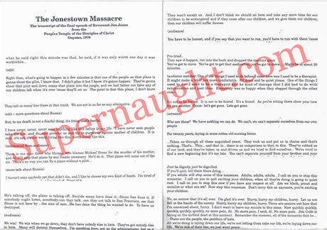 Pastor Jim Jones 1978 Final Speech 8 Pages - Supernaught True Crime Collectibles
