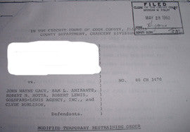 John Gacy two page copy of 1980 temporary restraining order - Supernaught True Crime Collectibles