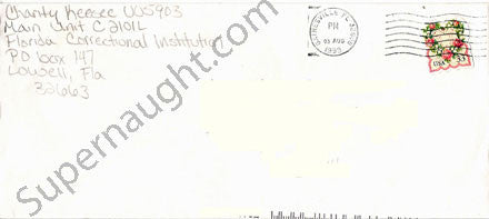 Charity Shea Keesee prison envelope signed - Supernaught True Crime Collectibles