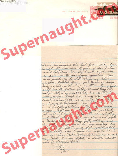 Timothy Krajcir letter and envelope both signed - Supernaught True Crime Collectibles